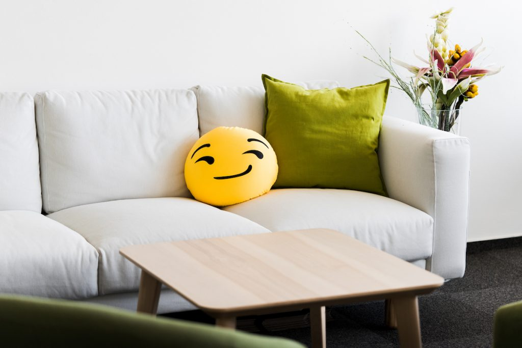 A worried looking cushion on a lounge chair. There is no need to be worried stepping into the chiropractors office.