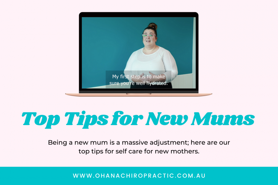Image is of a laptop with a picture of a woman in a white top and brown hair in a bun with the words underneath Top Tips for New Mums
